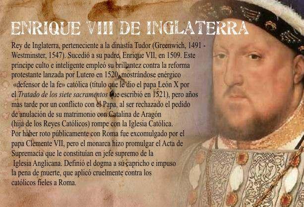 Características del Gobierno de Enrique VIII en Inglaterra